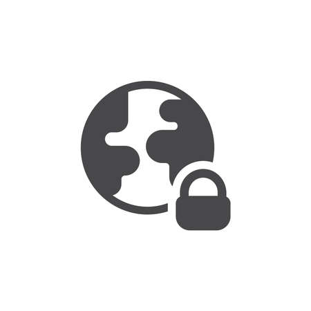 Planet Earth with padlock black vector icon. Globe, safe and secure concept symbol.