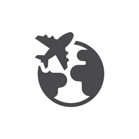 Planet Earth with airplane black vector icon. Globe and flight, travel symbol.