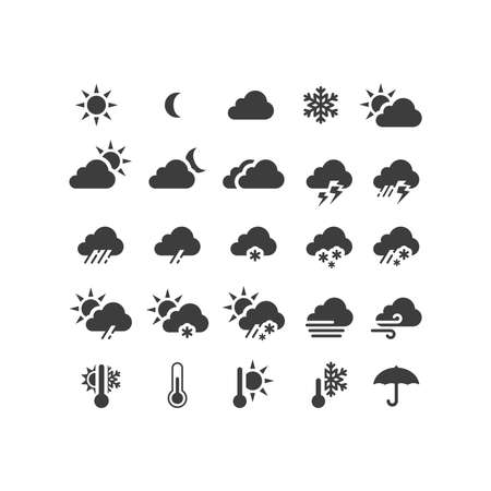 Weather forecast black vector icon set. Stormy, sunny, rain, snow icons. Sun and clouds, hot and cold symbols.