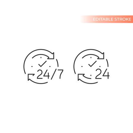 24 7 non stop arrow circle loop vector icon. Twenty four hour clock service editable stroke outline. Ilustracja