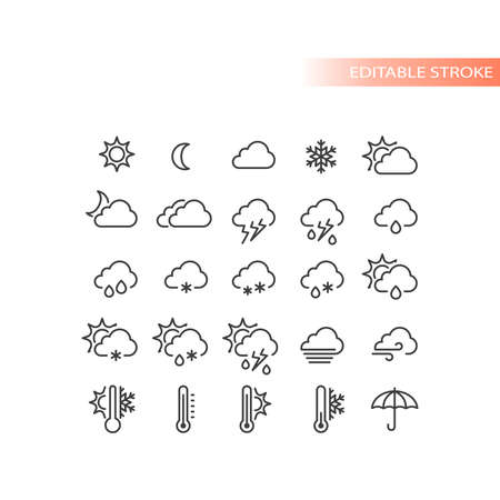 Weather forecast line vector icon set. Stormy, sunny, rain, snow icons. Sun and clouds, hot and cold symbols, editable stroke. Ilustracja