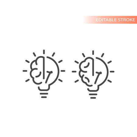 Lightbulb and brain line vector icon. Light bulb idea symbol, editable stroke.