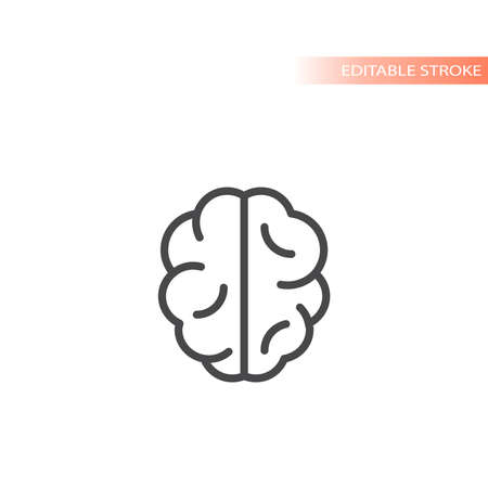 Brain line vector icon. Simple outline, editable stroke symbol. Ilustracja