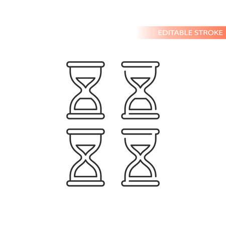 Sand clock line vector icon. Hourglass outline symbol, editable stroke.