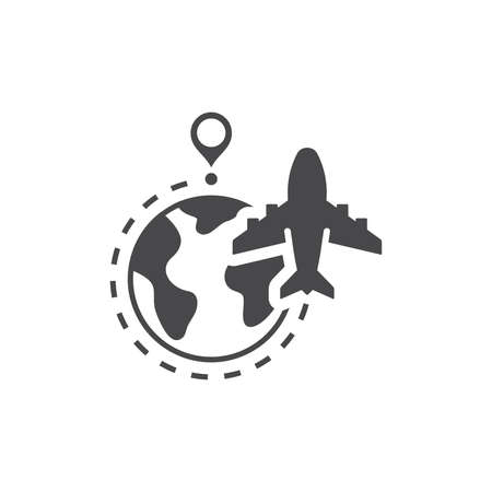 Airplane, globe and dashed line flight route. Commercial flying vector icon with planet earth and location pin. Ilustracja