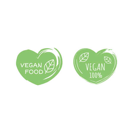 Vegan food and products vector label icon set. 100 % vegan circle sticker set. Ilustracja