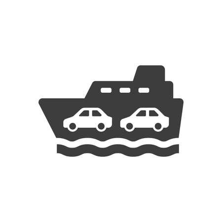 Ferry boat black vector sign. Ferryboat ship symbol.
