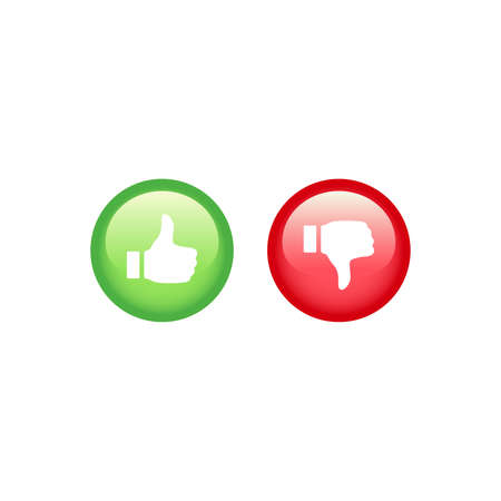 Like and dislike red and green buttons. Thumb up and down vector shiny button set. Ilustracja