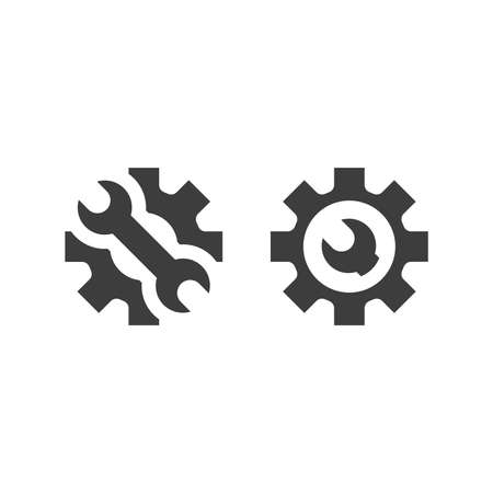 Gear with wrench black vector icon. Cogwheel and spanner symbol.
