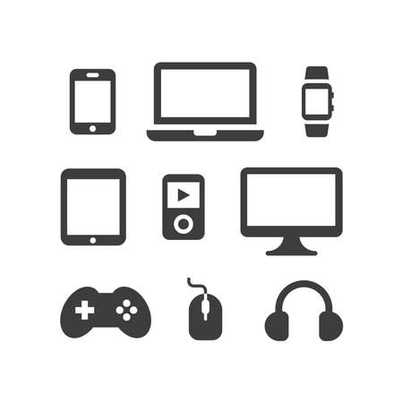 Electronic, computer devices vector icon set. Tv, laptop, smartphone screen, black digital device icons. Ilustracja