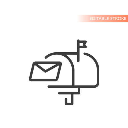 Mailbox and letter line vector icon. Post or mail box symbol. Ilustracja