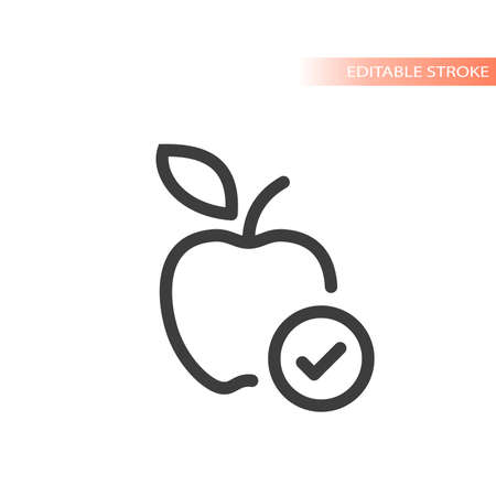 Apple with checkmark line vector icon. Tick, ok check mark, healthy eating symbol.