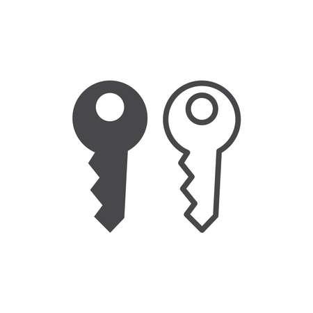 House key black vector icon. Simple key symbol.
