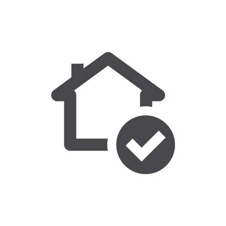 House and checkmark black vector icon. Safe home with ok, tick or check mark symbol.