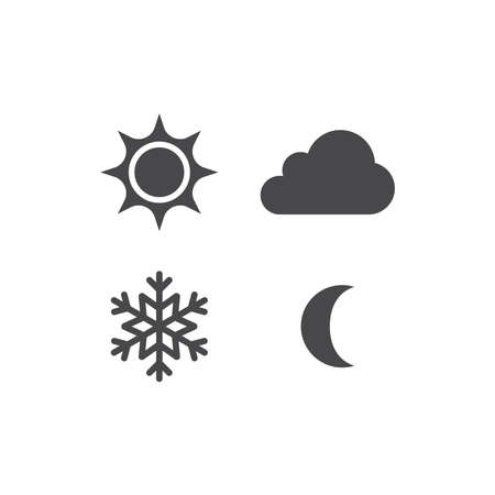 Sun, snowflake, cloud and moon vector icons. Day, night, summer and winter black icon set.