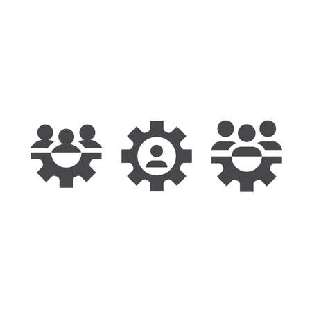 Gear and business team, human resources icon. Cogwheel and people, teamwork black vector icons.