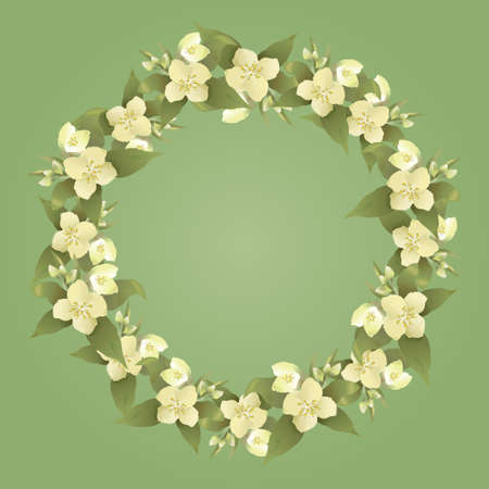Floral frame - vector abstract illustration with jasmine flower