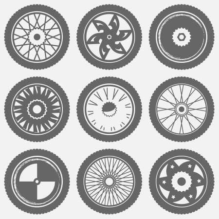 objects: Motorcycle wheel icons. Set of different wheels symbols, vector motorcycle logo concept