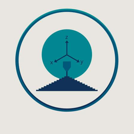 Vector 3d printer flat simple symbol or logo Illustration