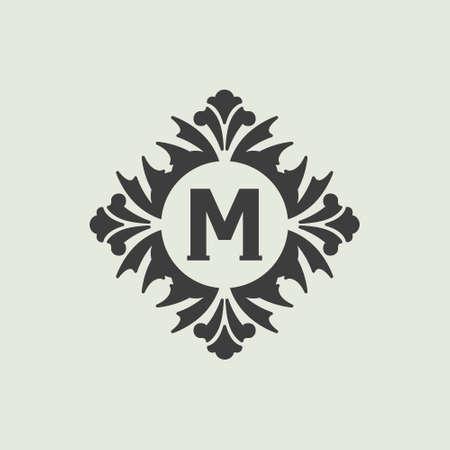 swirl: Stylish vintage monogram design, Black vector elegant logo Illustration
