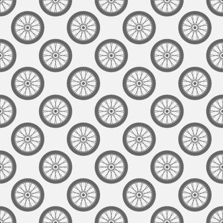 Wheels seamless pattern. Vector simple texture with wheels Illustration