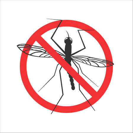 Vector mosquito stop symbol or sign - abstract mosquito in red crossed out circle. Warning icon