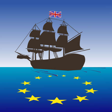 Illustrazione di concetto di Brexit. Vector Regno Unito nave che lascia l'UE. Il Regno Unito lascia l'UE