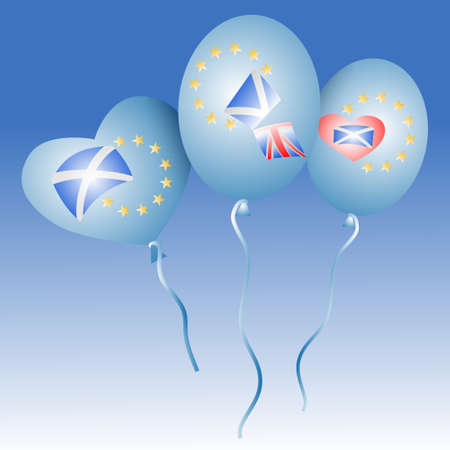 Scotland with EU. Vector concept scotexit illustration. Scotland want to stay in European Union