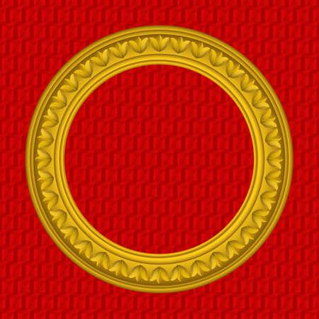 Golden round picture frame Çizim
