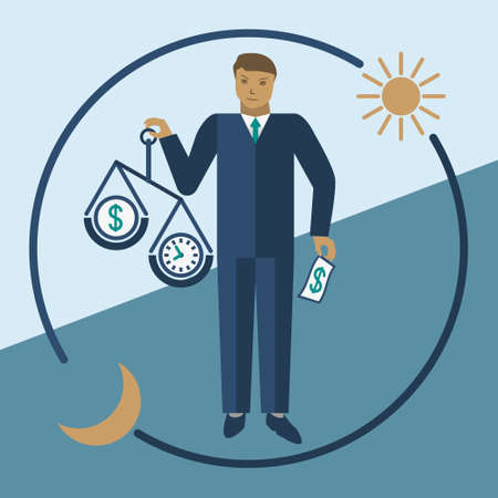 Time is money. Vector business time management flat illustration