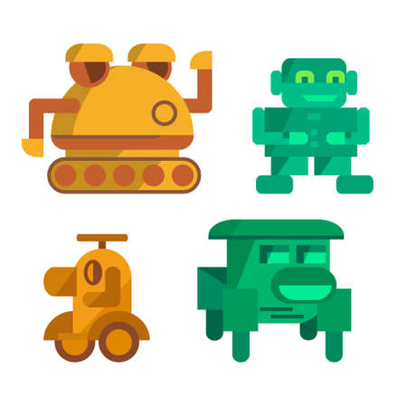 stuff toy: Vector toy robots flat colorful symbols or icons