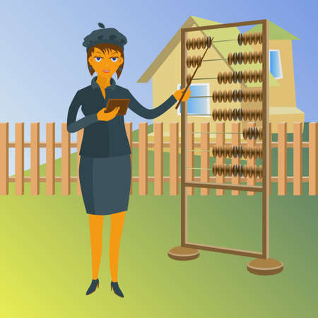 A real estate agent with abacus. Vector property for sale concept illustration