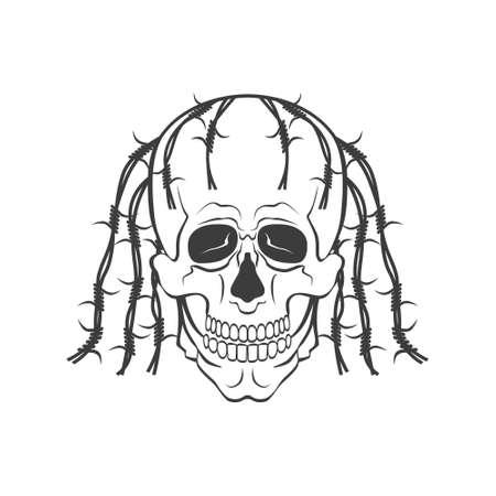 Hand drawn skull vector modern illustration on white background