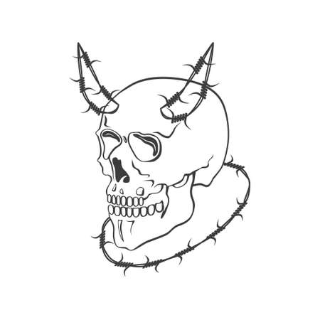 Skull with barbed wire vector modern illustration or symbol