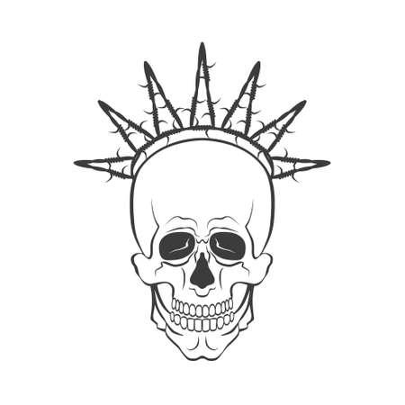 Vector skull with barbed wire sign. Freedom concept illustration Illusztráció