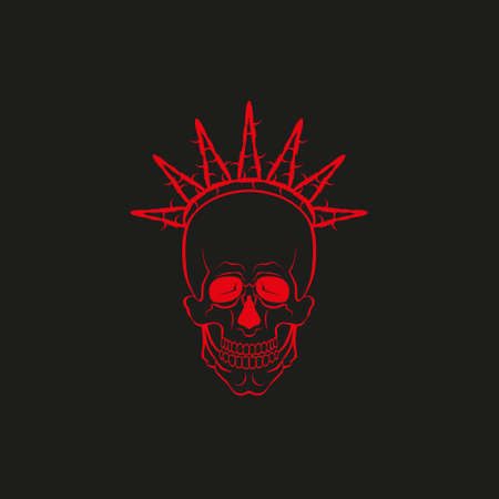 Red skull with barbed wire concept vector illustration on dark background