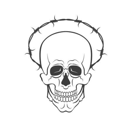 Vector skull with barbed wire concept illustration on white background Illusztráció