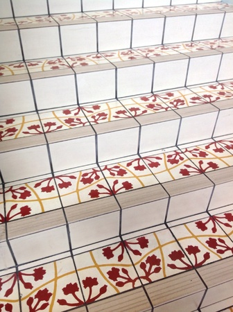 staircases: Decorated tiles for staircases in Central Market Malaysia