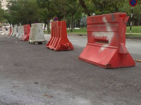 barricades: Road barricades put up for road maintenance  Stock Photo