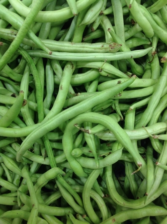 snap bean: Green beans for sale at supermarket