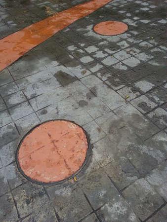 pedestrian walkway: Pedestrian walkway flooring design Stock Photo