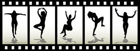 Woman silhouette on film trip Ilustração