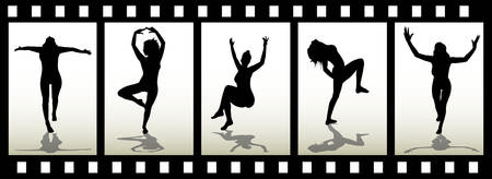 Woman silhouette on film trip Imagens - 4933235
