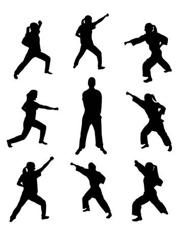 karate practice: martial arts silhouettes