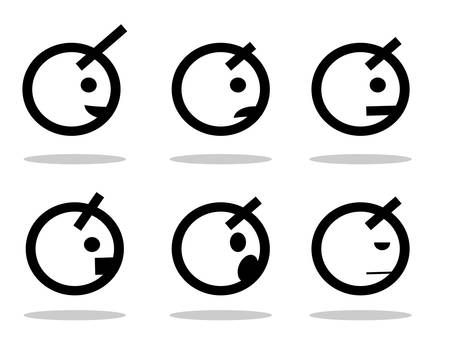 smileys:  set of smileys and faces