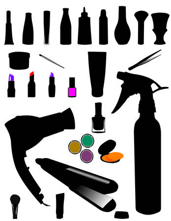 hairdressing salon:  silhouette of make-up