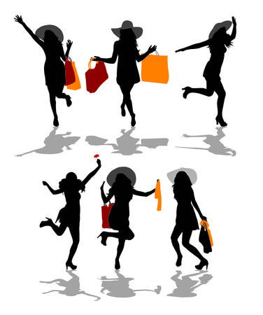shopping filles silhouettes Illustration