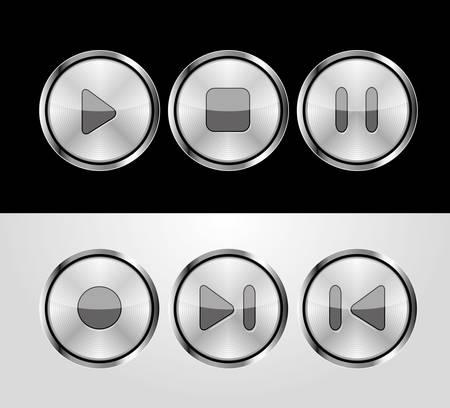 metalic control buttons Stock Vector - 10437705