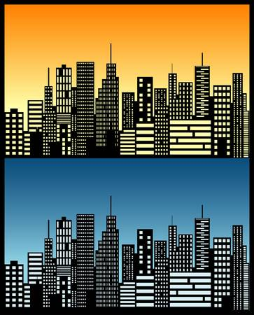 cityscape silhouette: city lights