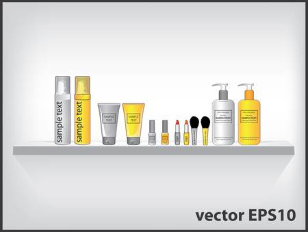 lotion: Vector cosmetic containers on the shelf